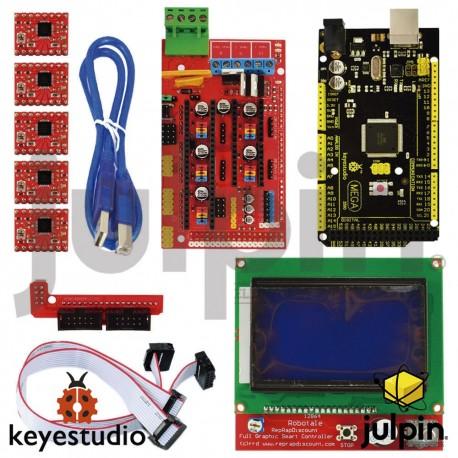 Kit para impresora 3D con ARDUINO, incluye RAMPAS 1.4 Mega + 2560 + 5x + A4988 LCD 12864 Controlador para ARDUINO