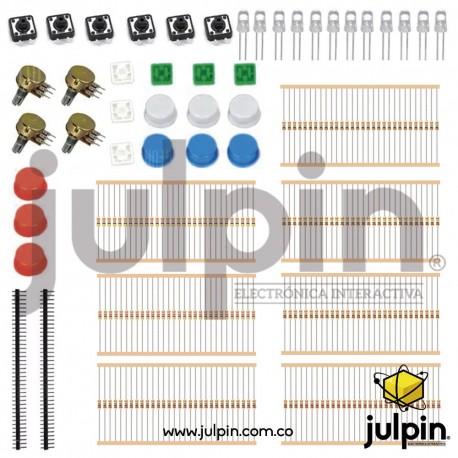 Kit de resistencias, potenciómetros y componentes
