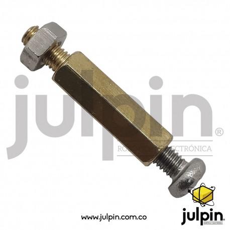Separador hexagonal de cobre con rosca interna y tornillo