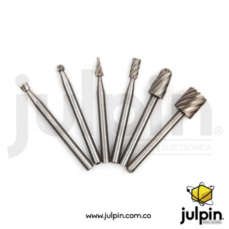 Set de 6 mini brocas para fresadora CNC