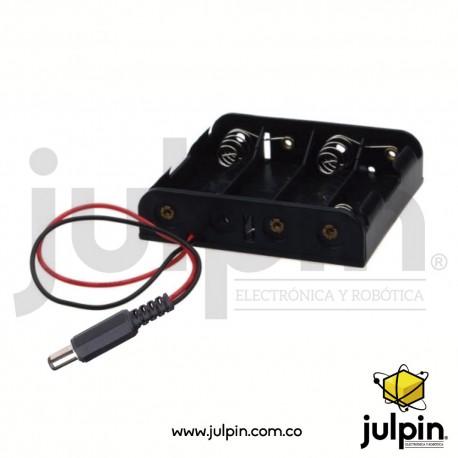 Caja plástica para 4 baterías AA