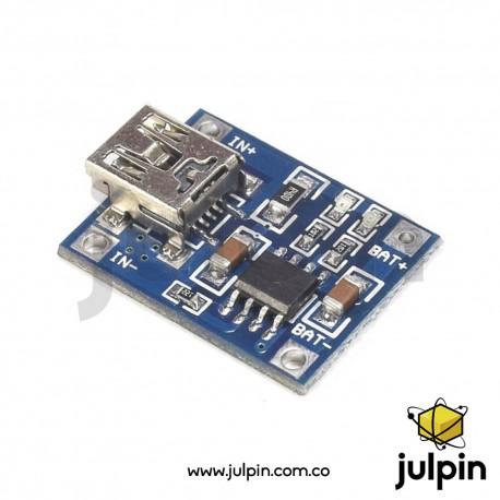 Cargador mini USB de batería litio 18650 1A TP4056