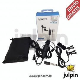 Micrófono de doble solapa para celulares, PC y video cámaras