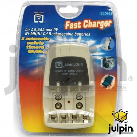 """cargador de pilas """"AAA"""" ó """"AA"""" y cuadrada de 9 voltios"""