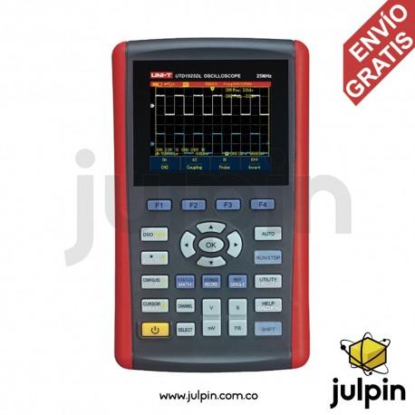 Osciloscopio portátil de 25Mhz y 2 canales. UTD1025DL