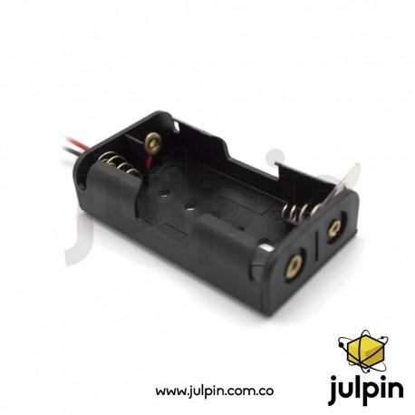 Caja plástica para 2 baterías AA