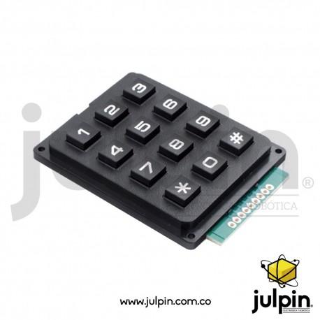 Módulo de teclado 3x4 con teclas plásticas