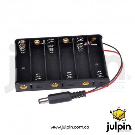 Caja plástica para 6 baterías AA