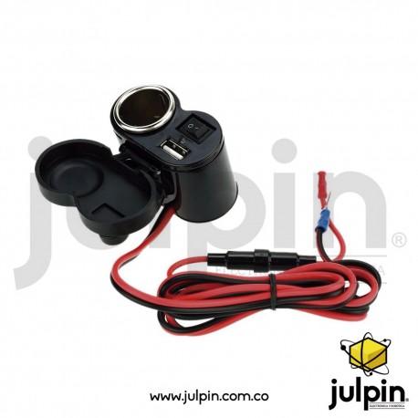 Cargador USB y Jack encendedor para moto
