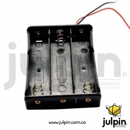 Caja plástica para 3 baterías 18650