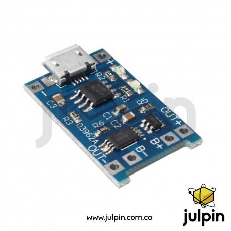 Cargador mcro USB de batería litio 18650 1A TP4056